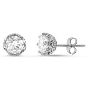 Solitaire Stud Earrings Round CZ Sterling Silver